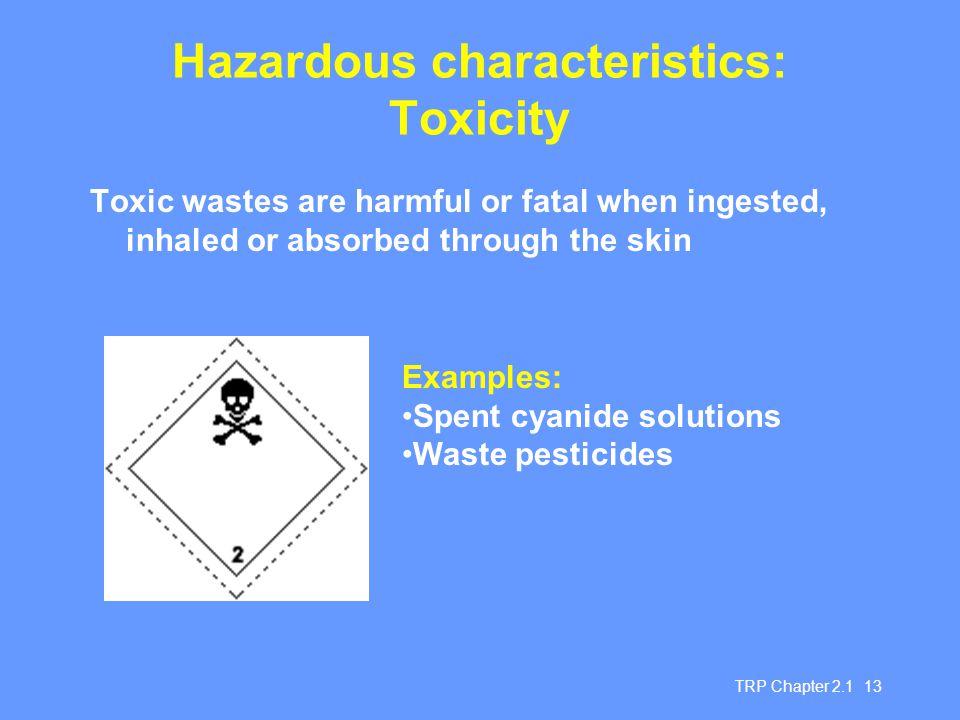 Hazardous characteristics: Toxicity