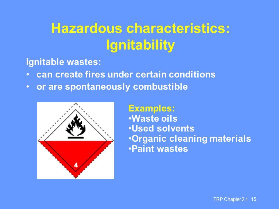 Hazardous characteristics: Ignitability