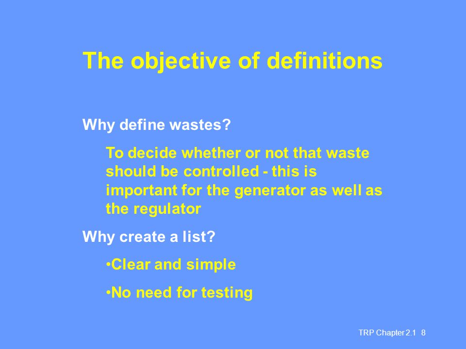 The objective of definitions