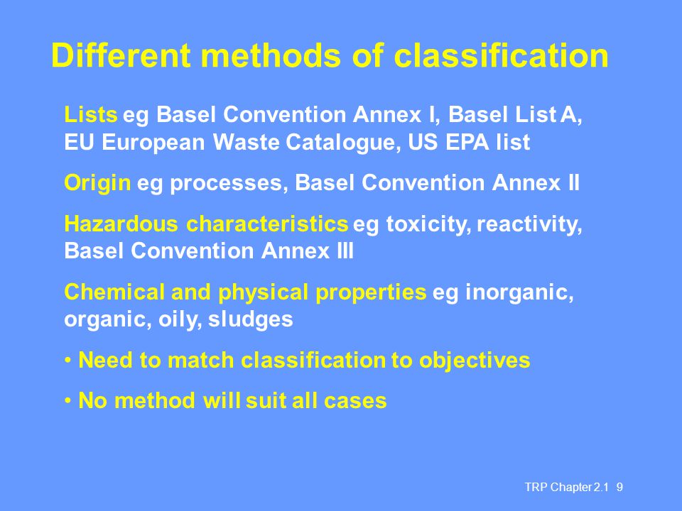 Different methods of classification