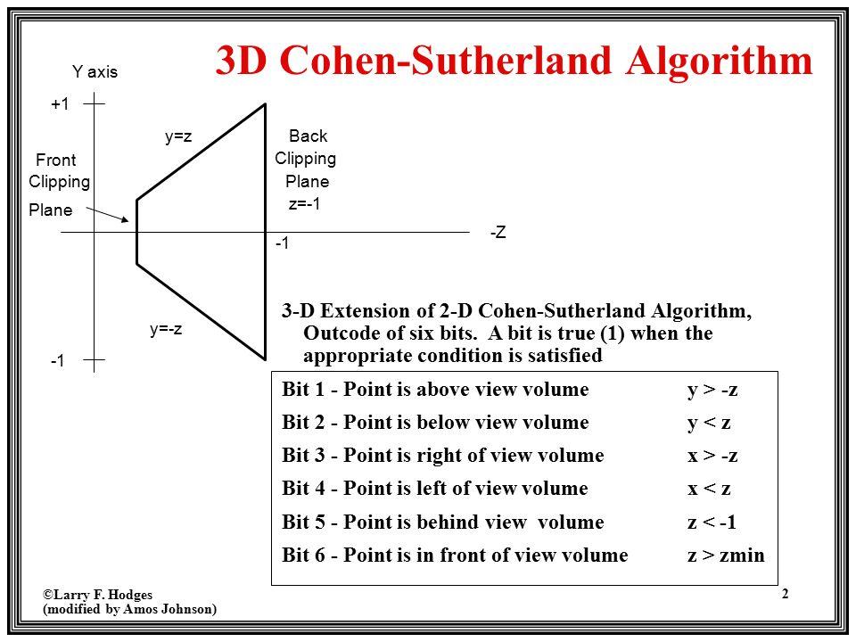 3D Cohen-Sutherland Algorithm