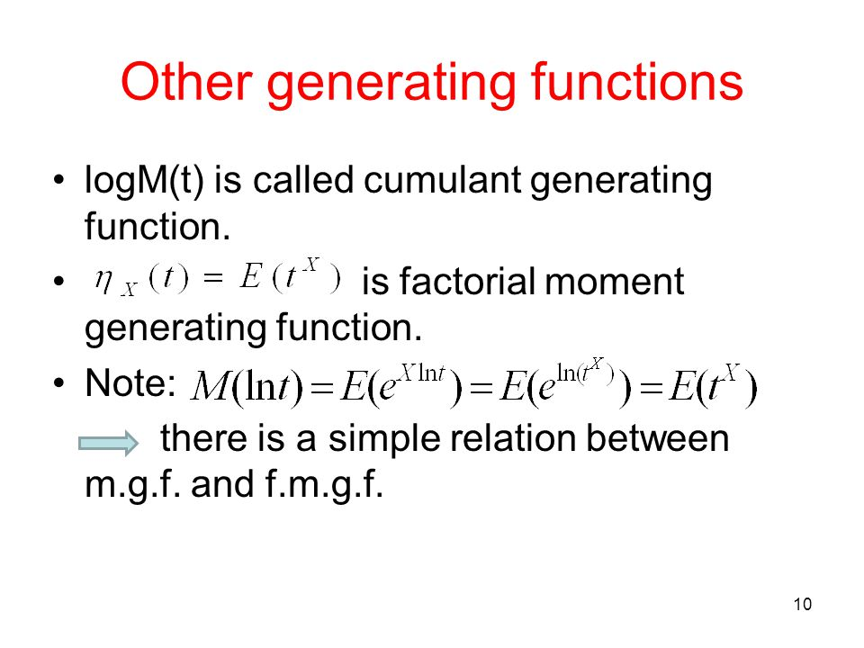 Other generating functions