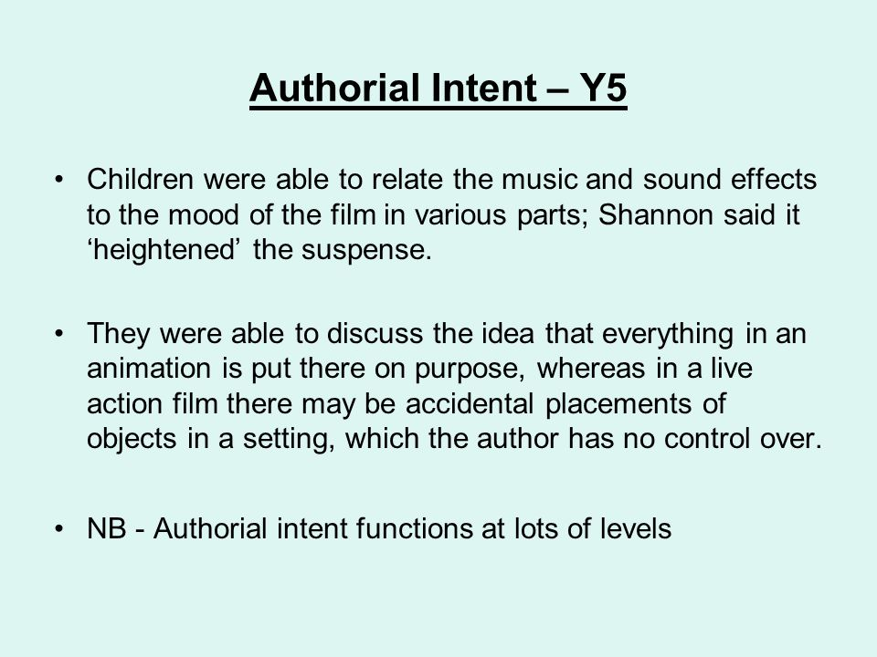 Authorial Intent – Y5