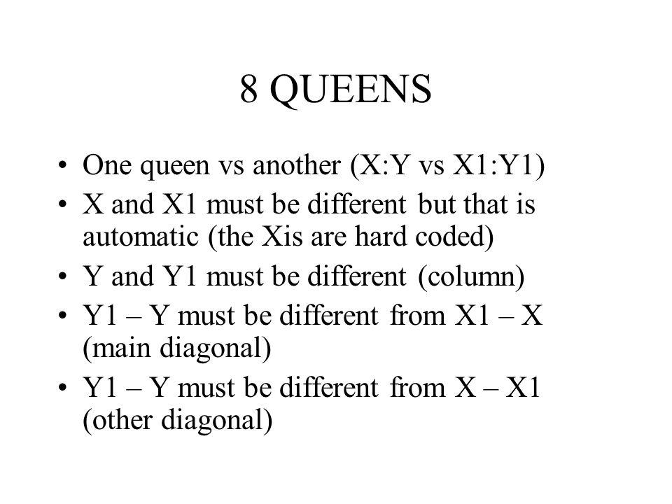 8 QUEENS One queen vs another (X:Y vs X1:Y1)