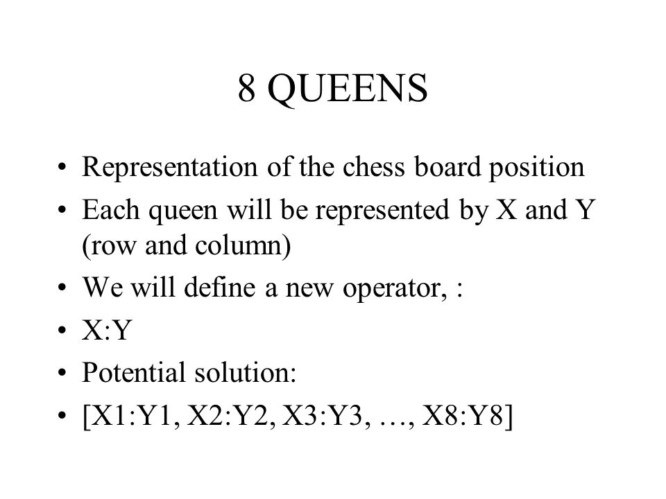 8 QUEENS Representation of the chess board position