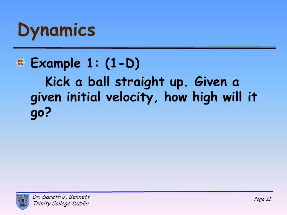 Dynamics Example 1: (1-D)