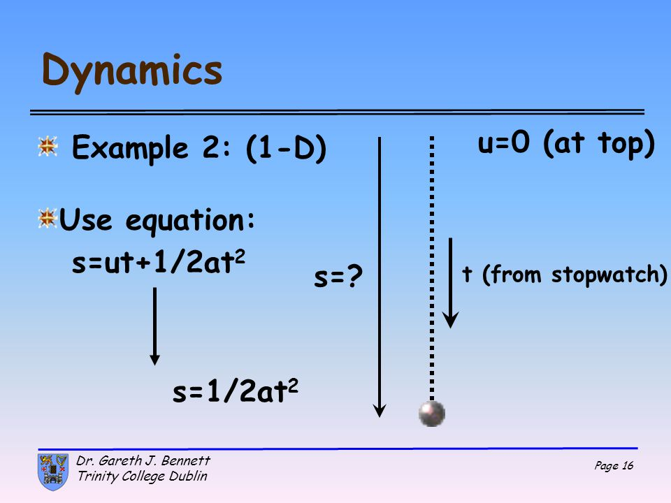 Dynamics u=0 (at top) Example 2: (1-D) Use equation: s=ut+1/2at2