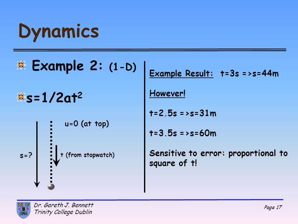 Dynamics Example 2: (1-D) s=1/2at2 Example Result: t=3s =>s=44m