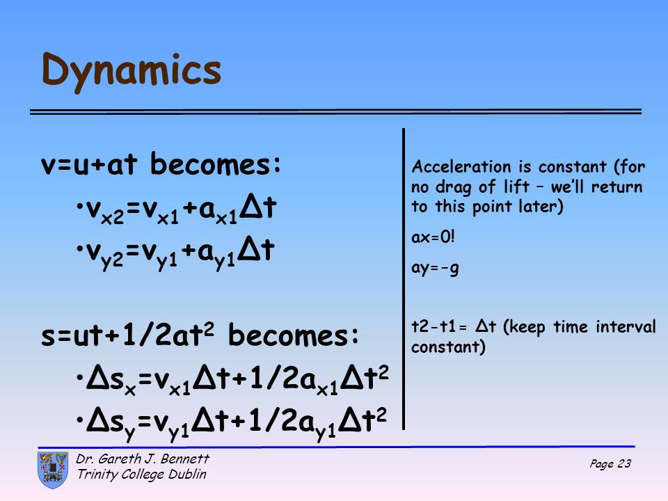 Dynamics v=u+at becomes: vx2=vx1+ax1Δt vy2=vy1+ay1Δt