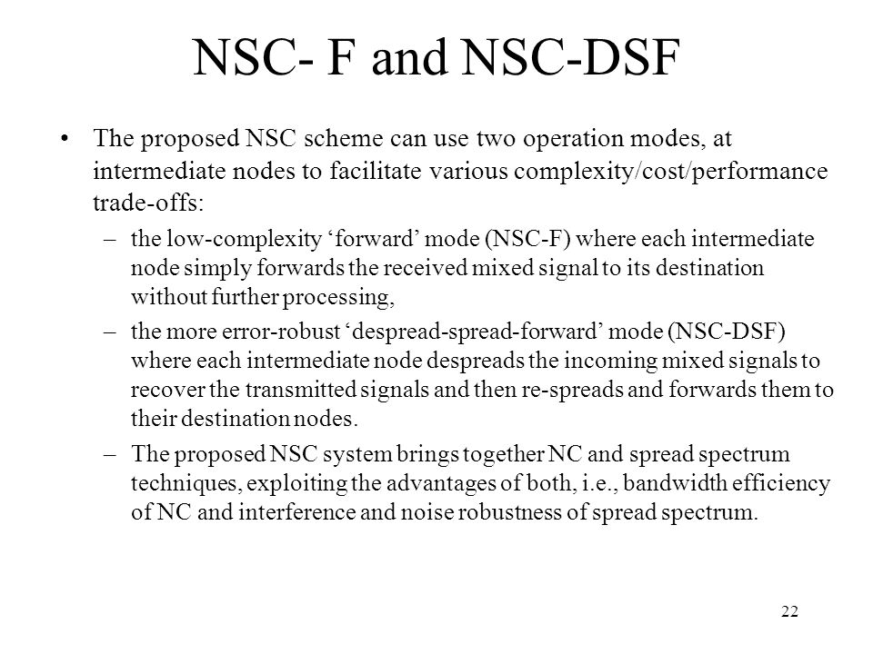 NSC- F and NSC-DSF
