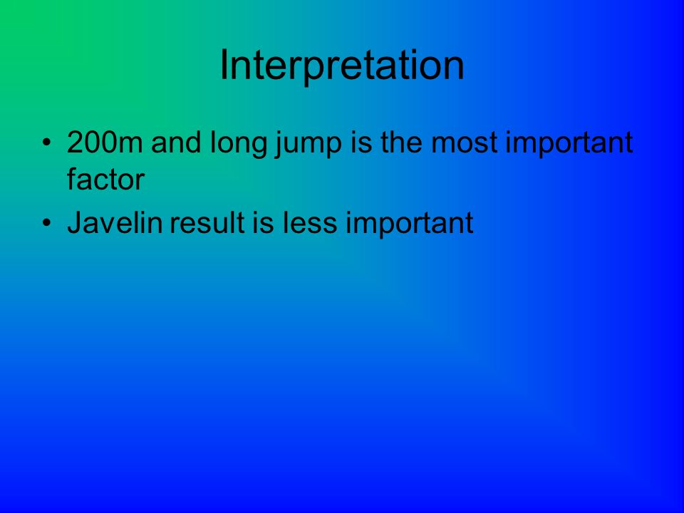 Interpretation 200m and long jump is the most important factor