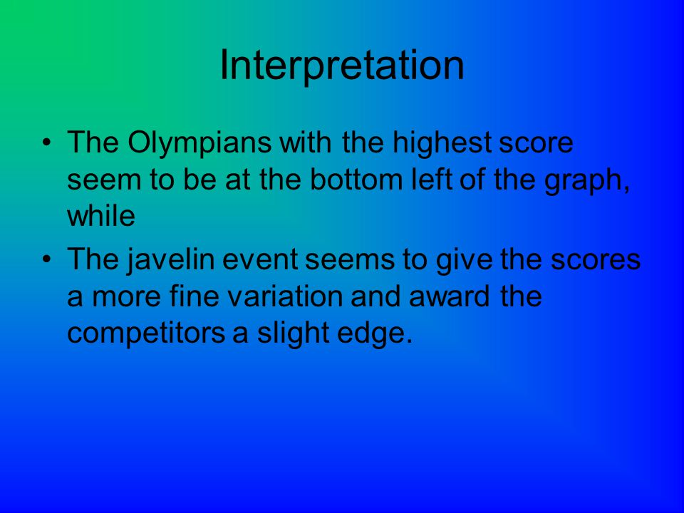 Interpretation The Olympians with the highest score seem to be at the bottom left of the graph, while.