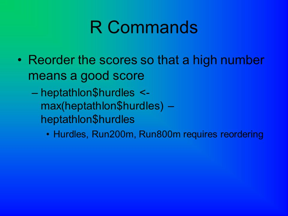 R Commands Reorder the scores so that a high number means a good score