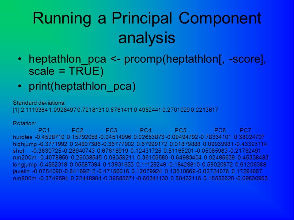 Running a Principal Component analysis