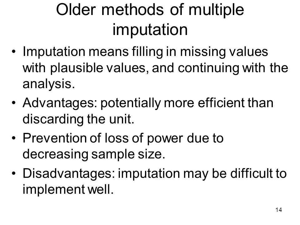 Older methods of multiple imputation