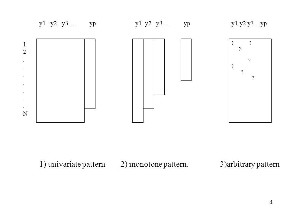 1) univariate pattern 2) monotone pattern. 3)arbitrary pattern