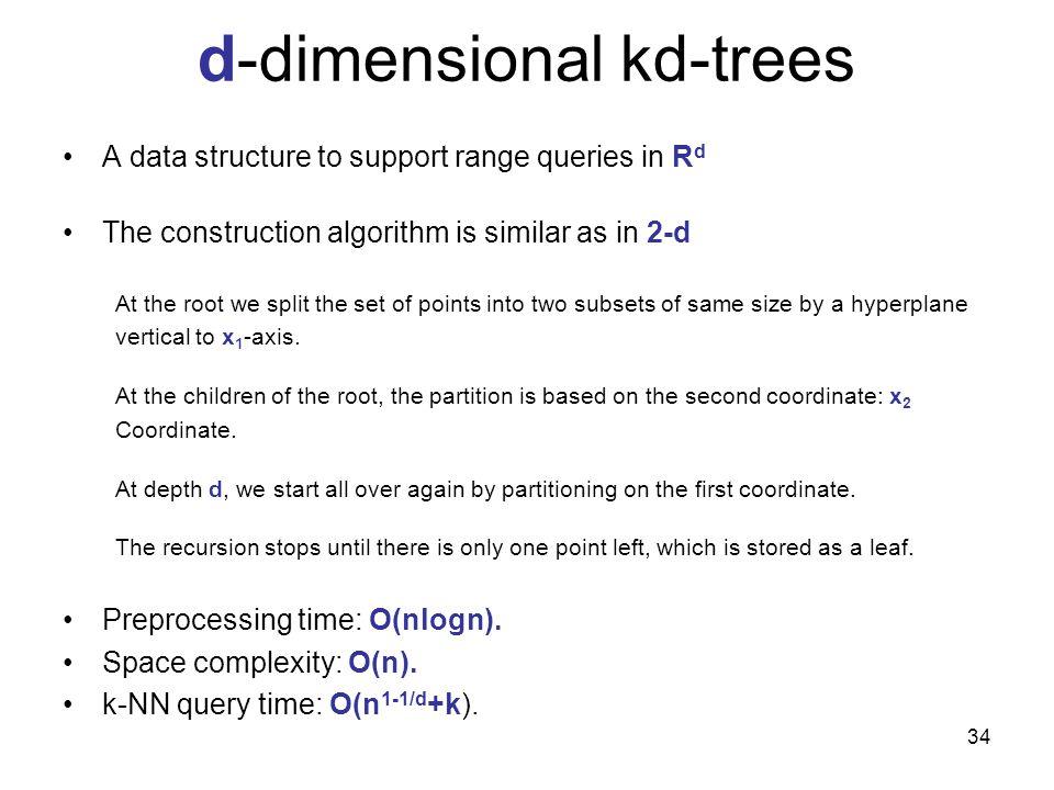 d-dimensional kd-trees
