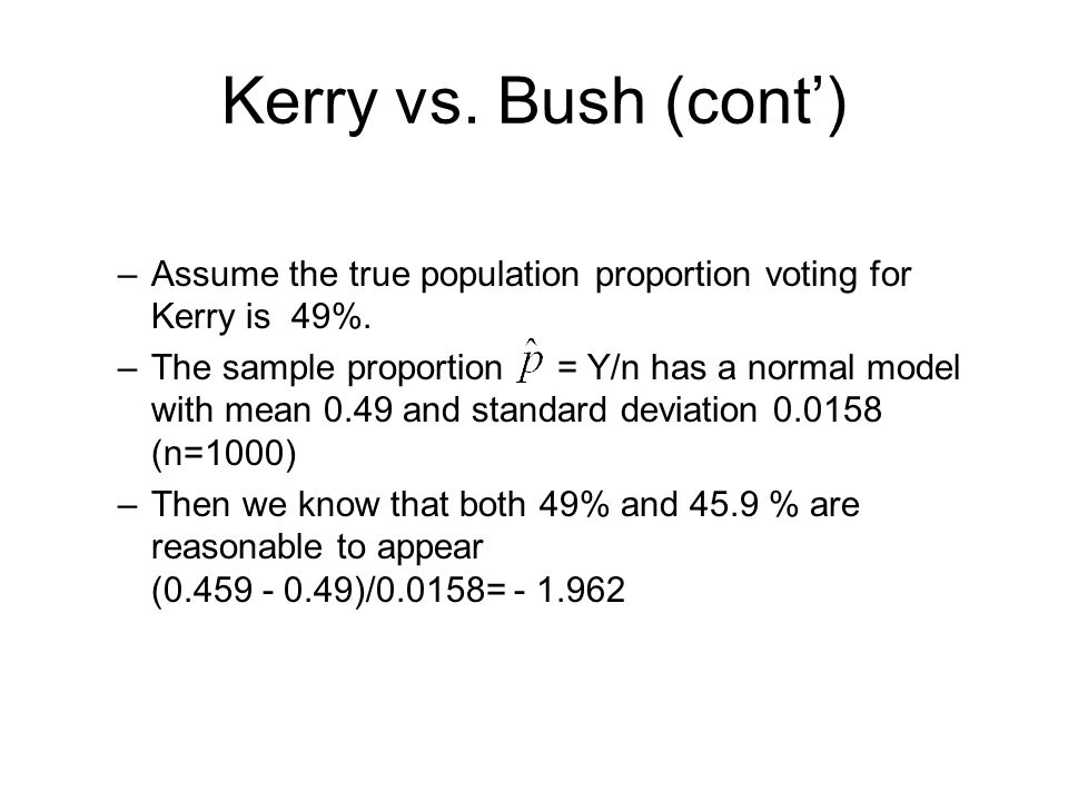 Kerry vs. Bush (cont') Assume the true population proportion voting for Kerry is 49%.