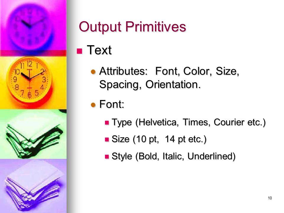 Output Primitives Text