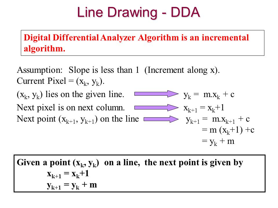 The Dda Line Drawing Algorithm Is Dependent : Chapter d graphics algorithms ppt video online download