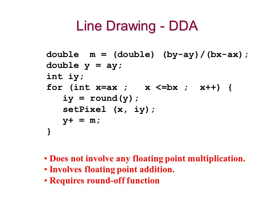 Line Drawing - DDA double m = (double) (by-ay)/(bx-ax); double y = ay;