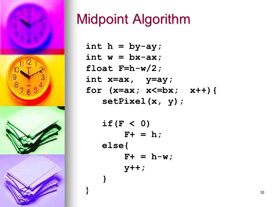 Midpoint Algorithm int h = by-ay; int w = bx-ax; float F=h-w/2;