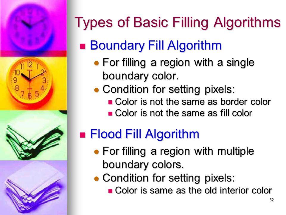 Types of Basic Filling Algorithms