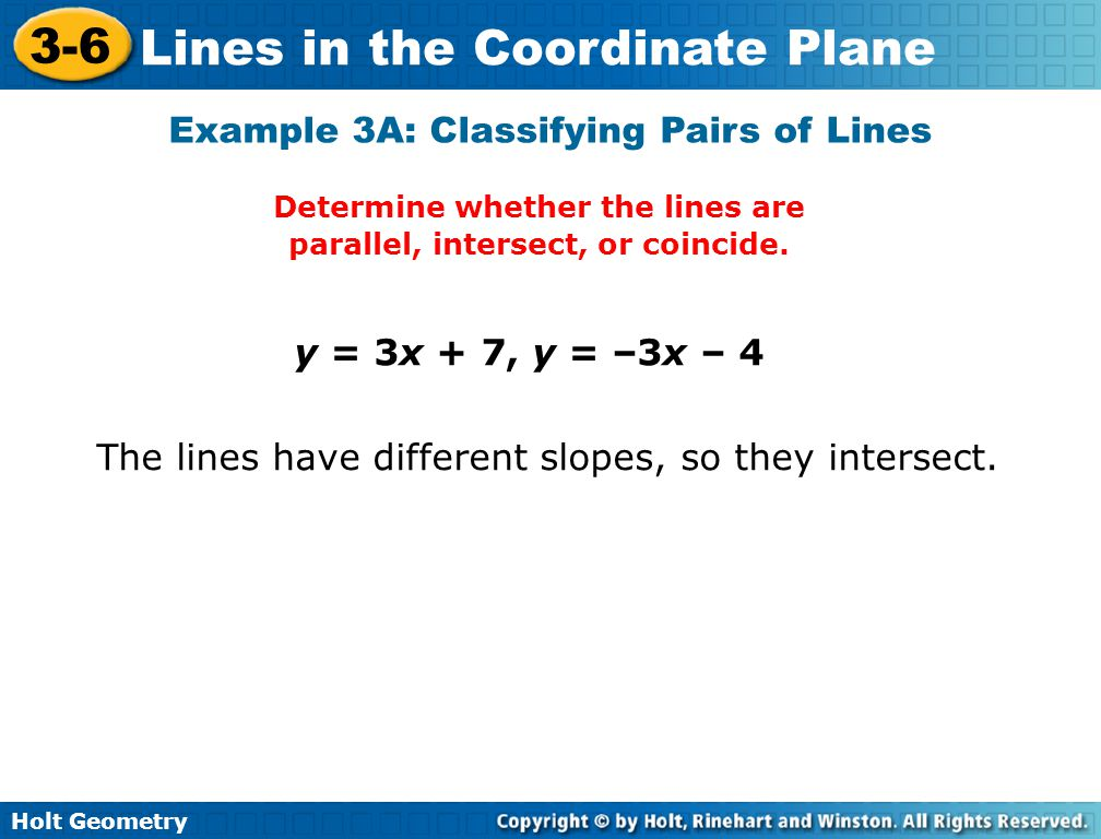 Determine whether the lines are parallel, intersect, or coincide.