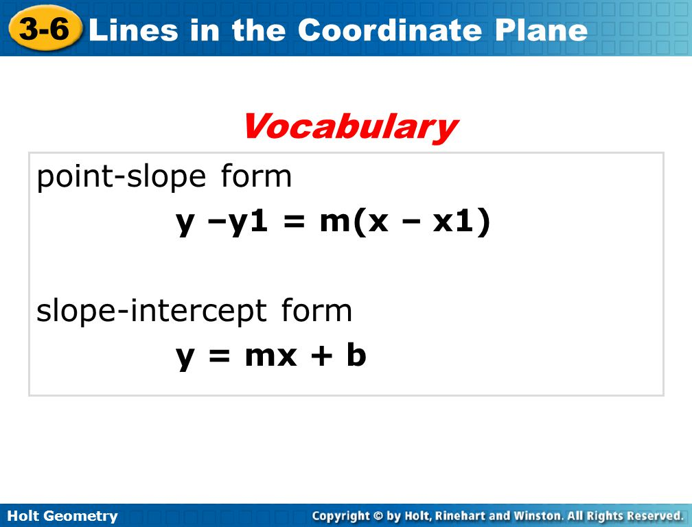 Vocabulary point-slope form y –y1 = m(x – x1) slope-intercept form