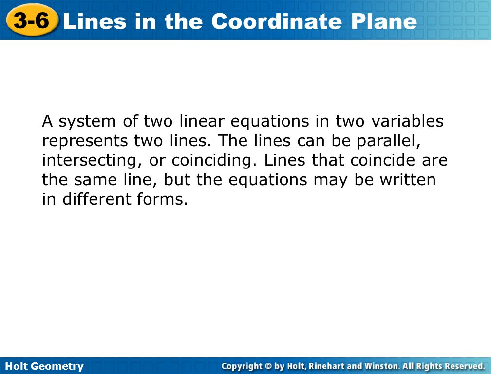 A system of two linear equations in two variables represents two lines
