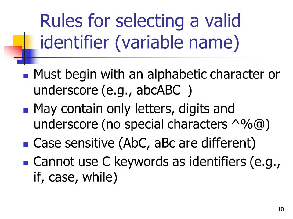 Rules for selecting a valid identifier (variable name)