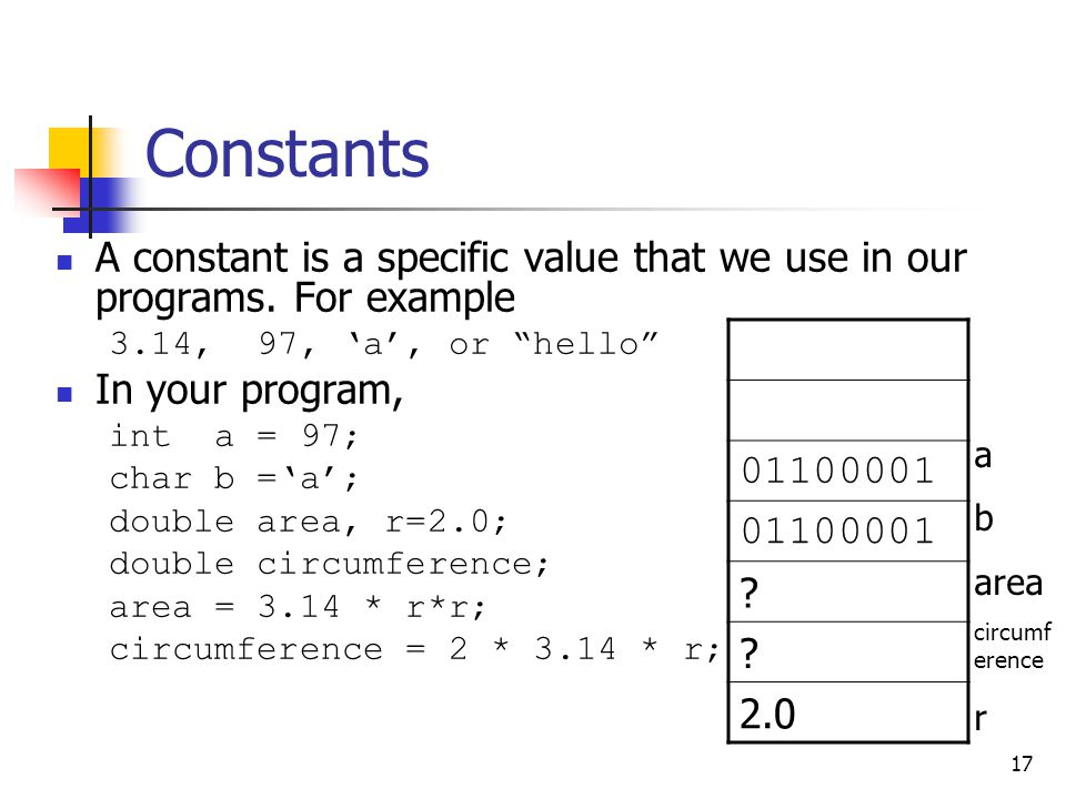 Constants A constant is a specific value that we use in our programs. For example. 3.14, 97, 'a', or hello
