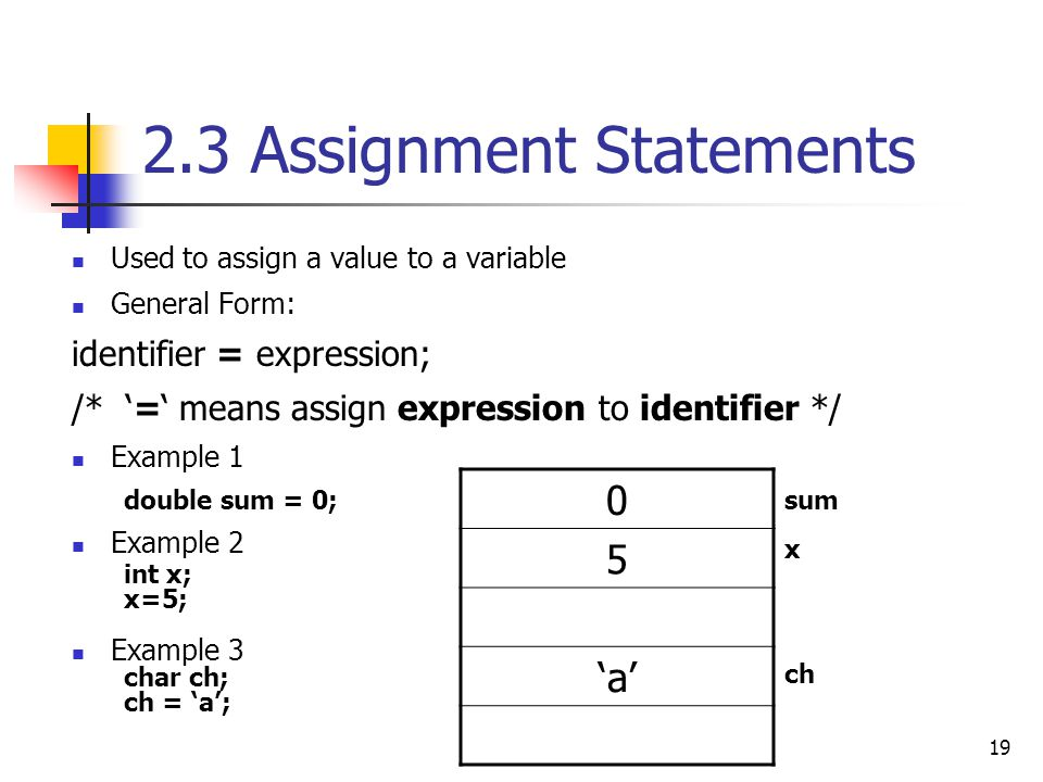 2.3 Assignment Statements