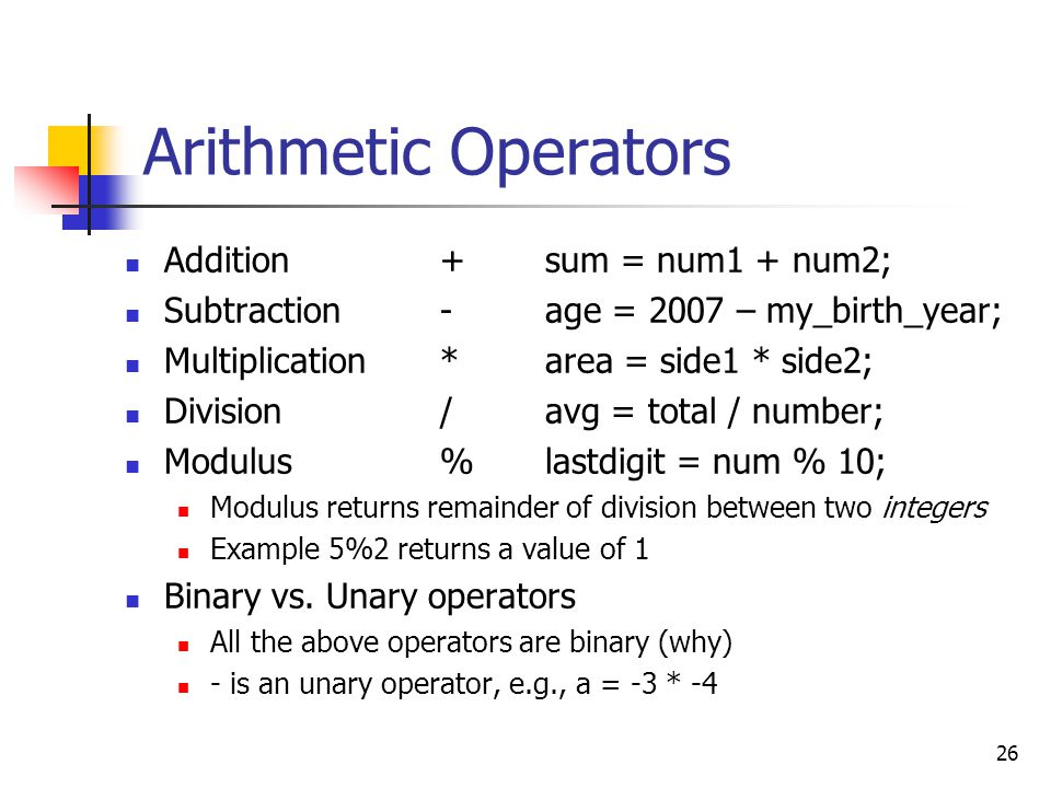 Arithmetic Operators Addition + sum = num1 + num2;