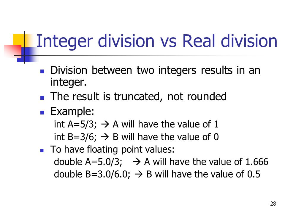 Integer division vs Real division
