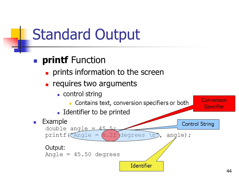 Standard Output printf Function prints information to the screen