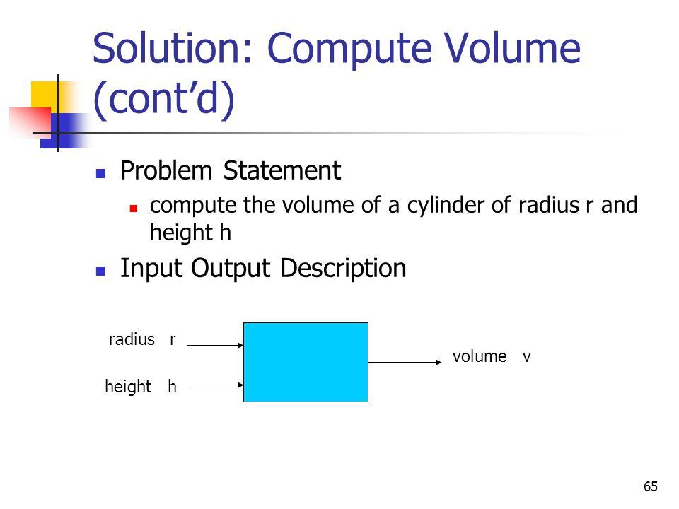 Solution: Compute Volume (cont'd)