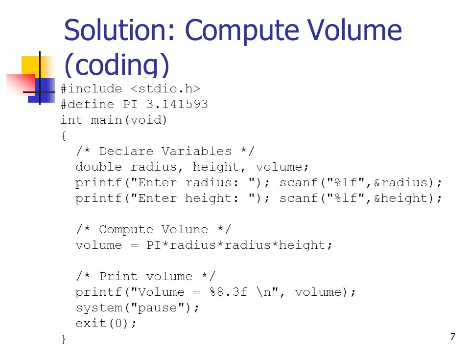 Solution: Compute Volume (coding)