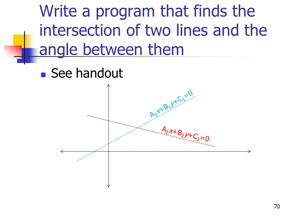 Write a program that finds the intersection of two lines and the angle between them