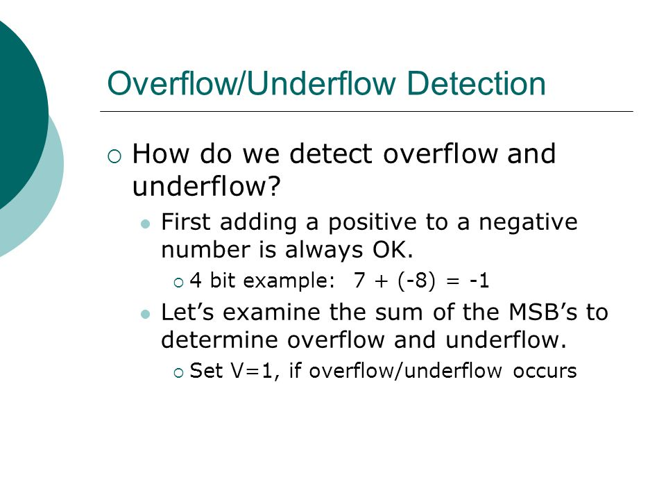 Overflow/Underflow Detection