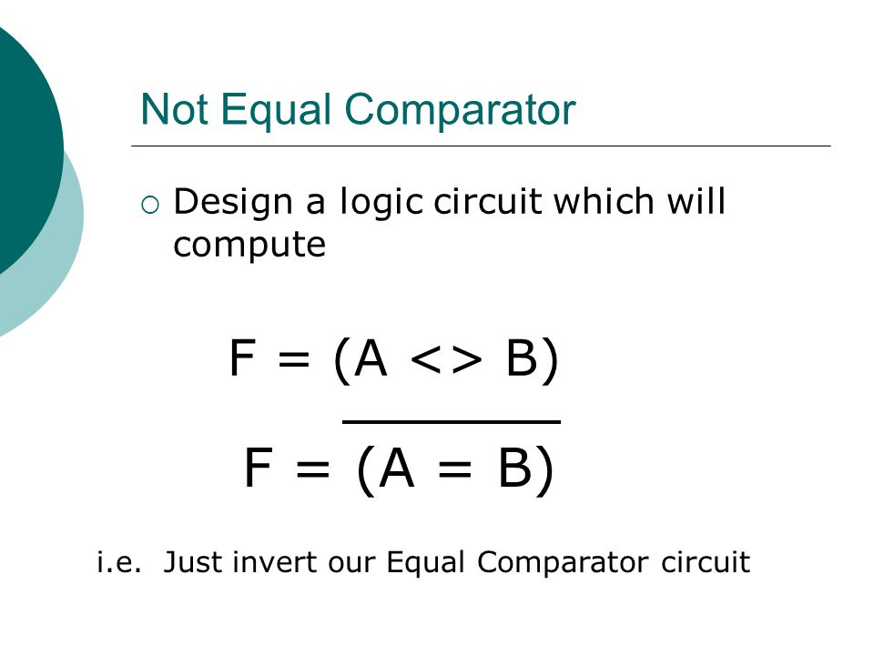 F = (A = B) F = (A <> B) Not Equal Comparator