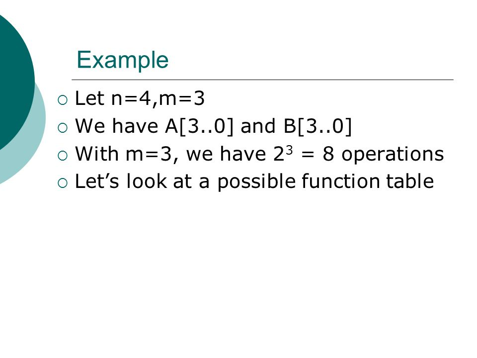 Example Let n=4,m=3 We have A[3..0] and B[3..0]