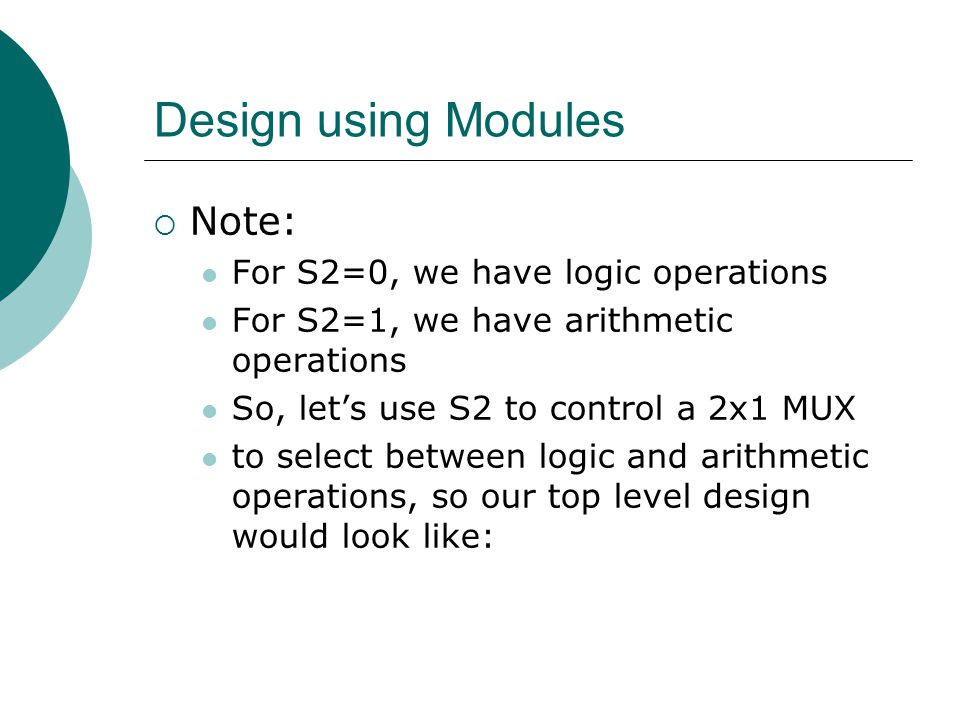 Design using Modules Note: For S2=0, we have logic operations