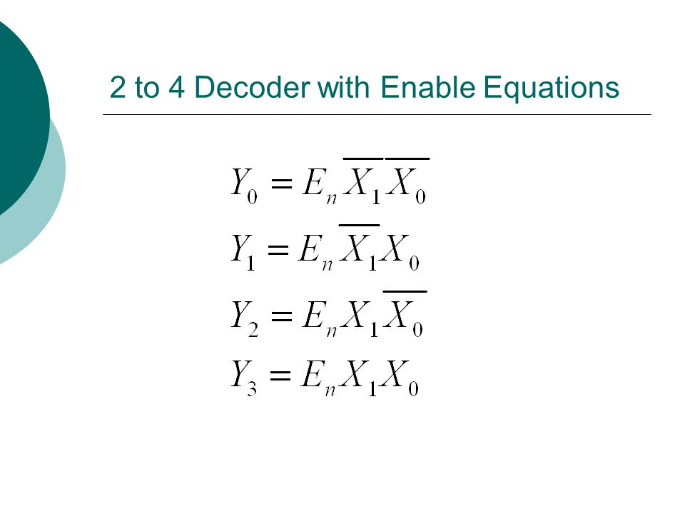 2 to 4 Decoder with Enable Equations