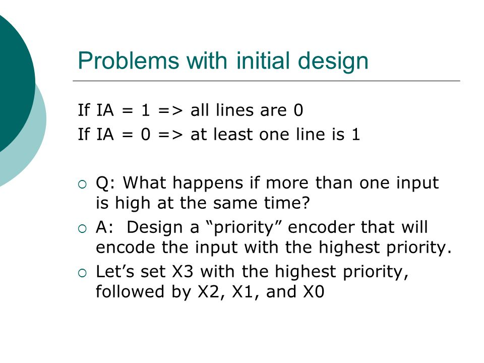 Problems with initial design