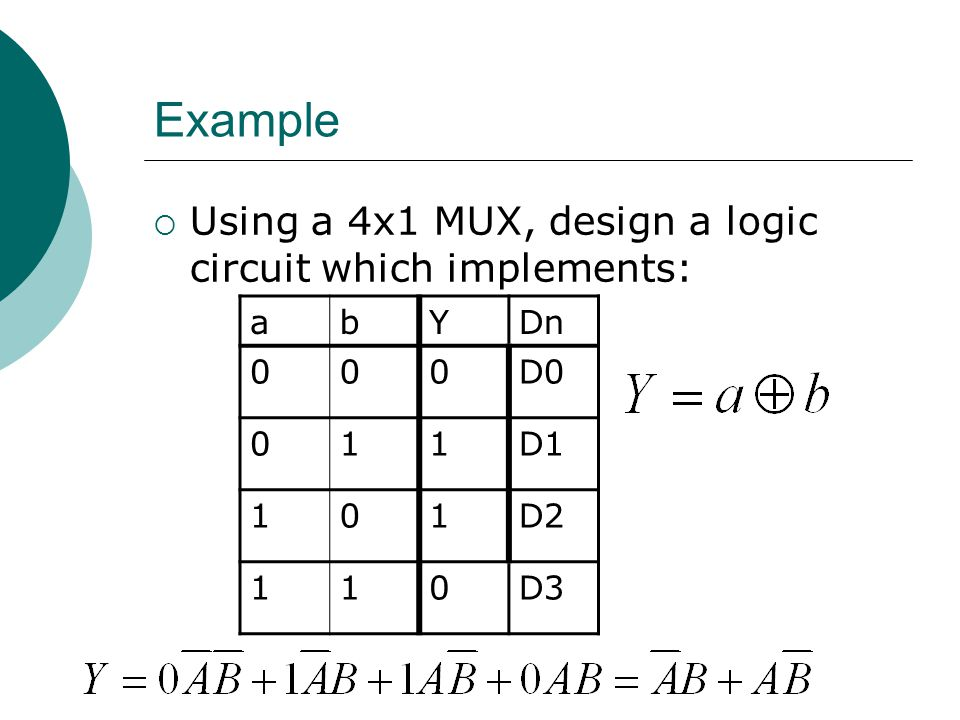 Example Using a 4x1 MUX, design a logic circuit which implements: a b