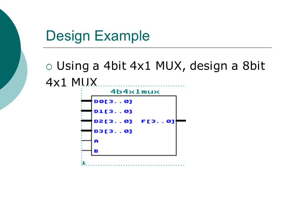 Design Example Using a 4bit 4x1 MUX, design a 8bit 4x1 MUX