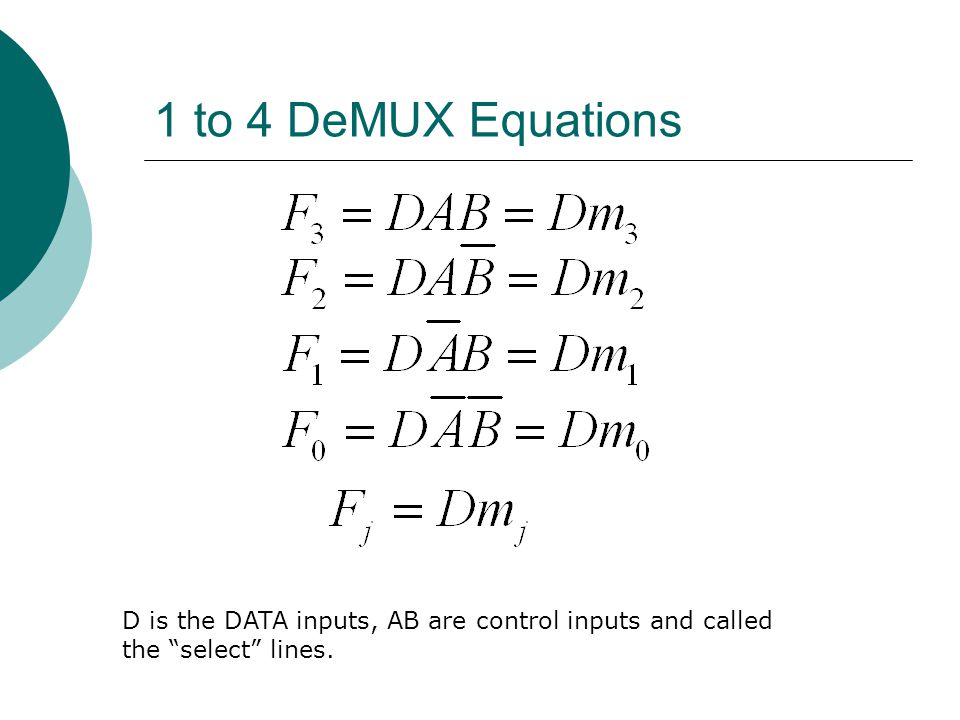 1 to 4 DeMUX Equations D is the DATA inputs, AB are control inputs and called the select lines.