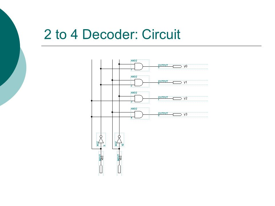 2 to 4 Decoder: Circuit