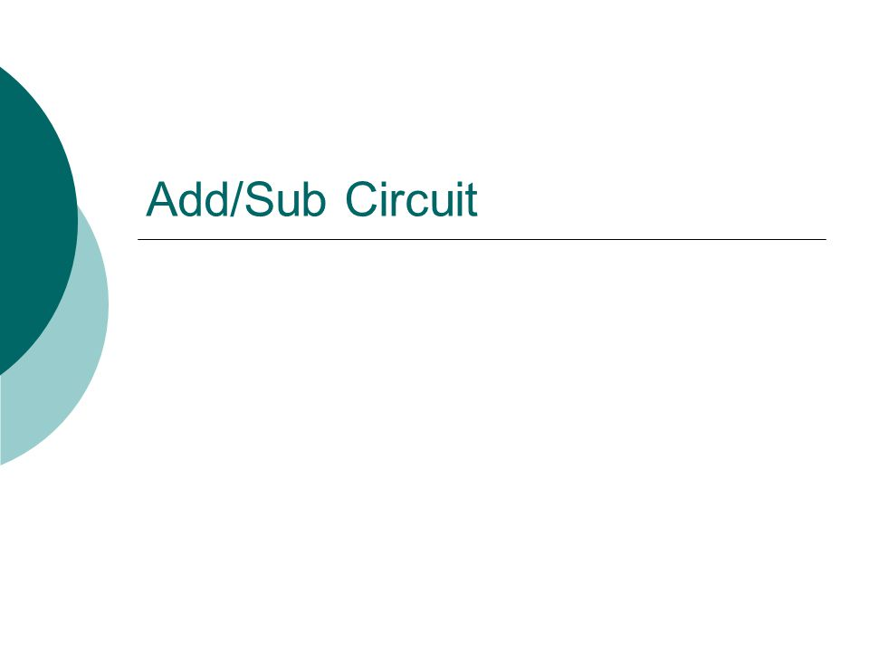 Add/Sub Circuit